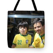 A Young Boy And His Dad Enjoying The 2009 Cleansing Of 46th Street Tote Bag