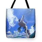 A Young Man Stand-up Paddleboards Tote Bag