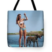 A Young Woman And Her Dog Sup Tote Bag