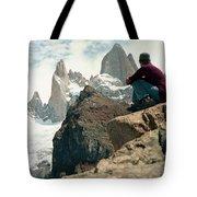 A Young Woman Gazes At Cerro Fitzroy Tote Bag