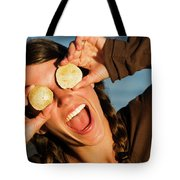 A Young Woman Smiles And Sticks Tote Bag