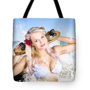Active Sexy Summer Beach Babe With Skateboard Tote Bag