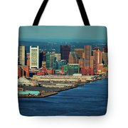 Aerial Morning View Of Boston Skyline Tote Bag