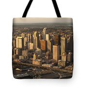 Aerial View Of Seattle Skyline Along Waterfront Tote Bag