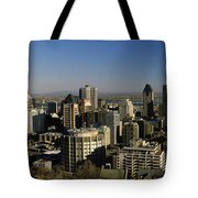 Aerial View Of Skyscrapers In A City Tote Bag