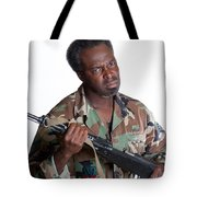 African American Man With Gun Tote Bag