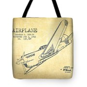Airplane Patent Drawing From 1943-vintage Tote Bag
