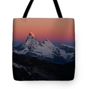 Alpenglow On The Matterhorn And Dent Tote Bag