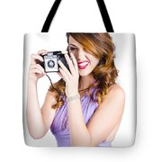 Amateur Photographer Practising With Retro Camera Tote Bag