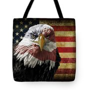 American Bald Eagle On Grunge Flag Tote Bag