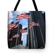 American Flags In Front Of The Detroit Renaissance Center Tote Bag