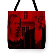 American Gothic In Red Tote Bag