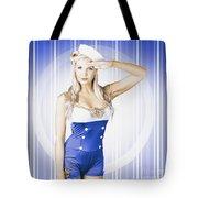 American Pinup Poster Girl In Military Uniform Tote Bag