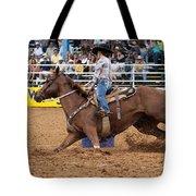 American Rodeo Female Barrel Racer White Blaze Chestnut Horse II Tote Bag by Sally Rockefeller