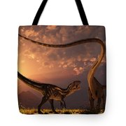 An Allosaurus In A Deadly Battle Tote Bag