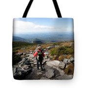 An Athletic Female Hiker Hikes Tote Bag