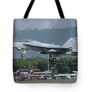 An Fa-18 Super Hornet Of The U.s. Navy Tote Bag