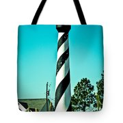 An Image Of Lighthouse In Small Town Tote Bag