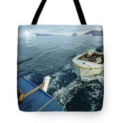 An Inuit Hunter Ferries His Sled Dogs Tote Bag