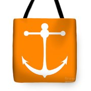Anchor In Orange And White Tote Bag