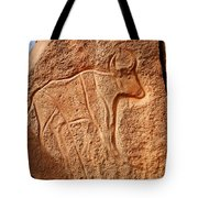 Ancient Engraving Of A Buffalo At The Wadi Matkhandouch In Libya Tote Bag