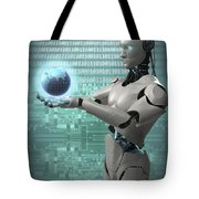 Android Holding Globe Tote Bag