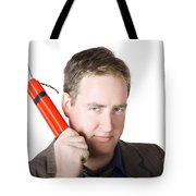 Angry Business Man Holding Stick Of Dynamite Tote Bag