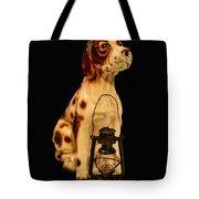 Antique Dog W Lantern Tote Bag