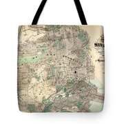 Antique Map Of City And County Of San Francisco Tote Bag