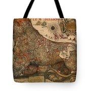 Antique Map Of Leo Belgicus 1630 Tote Bag
