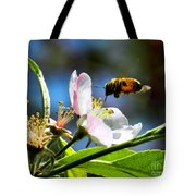 Apple Blossom And Honey Bee Tote Bag