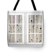 Aspen Forest White Picture Window Frame View Tote Bag