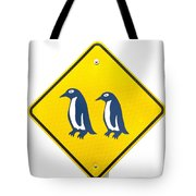 Attention Blue Penguin Crossing Road Sign Tote Bag