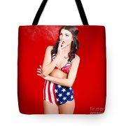 Attractive Usa Pinup Woman Smoking Tote Bag