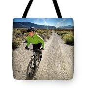 Attractive Woman Riding Her Mountain Tote Bag