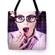 Attractive Young Nerd Girl With Surprised Look Tote Bag