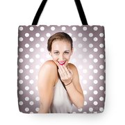 Attractive Young Retro Girl With Look Of Surprise Tote Bag