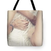 Back Of Wedding Dress With Helping Hands Of Bridesmaids Tote Bag