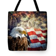 Bald Eagle And Fireworks Tote Bag by Michael Shake