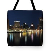 Baltimore Skyline At Dusk On The Inner Harbor Tote Bag