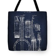 Banjo Patent Drawing From 1882 - Blue Tote Bag