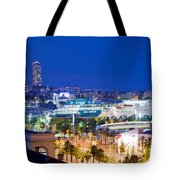Barcelona And Its Skyline At Night Tote Bag