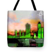 Barcelona Spain Skyline Watercolor Tote Bag