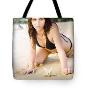 Beach Fun With A Gorgeous Brunette Tote Bag