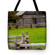 Beautiful Autumn Scene Showing Rustic Old Log Cabin Surrounded B Tote Bag