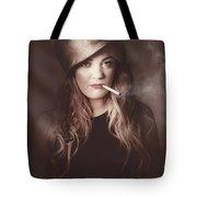 Beautiful Blond Army Pinup Girl Smoking Cigarette Tote Bag