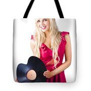 Beautiful Blonde With Heart-shaped Record Tote Bag