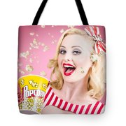 Beautiful Girl Watching Premier At Movie Theater Tote Bag