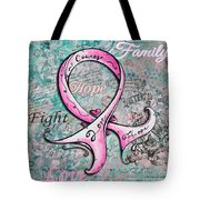 Beautiful Inspirational Elegant Pink Ribbon Design Art For Breast Cancer Awareness Tote Bag