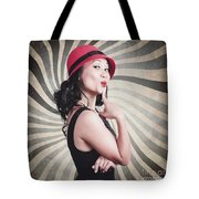 Beautiful Model In Vintage Fashion Accessories  Tote Bag